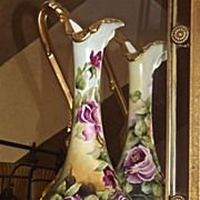 """Limoges Rare 16"""" Art Nouveau Pitcher/Ewer/Vase Gorgeous Coloring and Pink/Red Roses"""