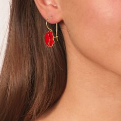 Handmade Gold Plated Silver Red Flower Earrings - Anthos Crafts Flower Earrings, Dangle Earrings, Earrings Handmade, Handmade Jewelry, Purple Lily, Swarovski Stones, Affordable Jewelry, Best Jewelry Stores, Silver Flowers
