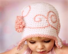 Baby Girl Hat Newborn Crochet Flapper Hat with Flower  Baby Girl Cloche. $24.00, via Etsy.