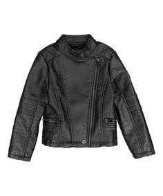 Black Buffalo Faux Leather Moto Jacket - Infant, Toddler & Girls