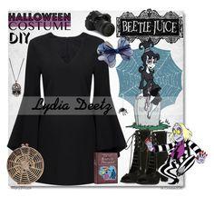 """DIY Lydia Deetz Halloween Costume"" by octobermaze ❤ liked on Polyvore featuring Alexis Bittar, Eos, Kendall + Kylie, Chicnova Fashion, Meri Meri, halloweencostume and DIYHalloween"
