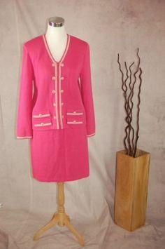 St John Collection Santana Knit Skirt Suit 8 Pink White Logo Buttons