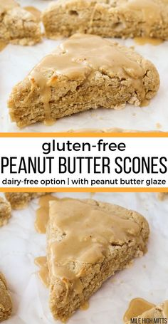 These Peanut Butter Scones are a fun gluten-free breakfast for the weekends. Soft and biscuit-like, these scones use Greek yogurt to make them perfectly tender. Only cup of sugar in the scones themselves - and you can use coconut oil and coconut yogurt Gluten Free Sweets, Gluten Free Cooking, Gluten Free Recipes, Gluten Free Breads, Gluten Dairy Free, Dairy Free Recipes For Kids, Dairy Free Baking, Cake Vegan, Vegan Desserts