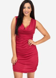 Discounted Red Ruched Dress in DRESSES
