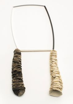 MYUNG URSO-S KR Neckpiece: Gemini, 2013 Hanji, Linen, Asian ink, Freshwater Pearl, Thread, Sterling silver, Lacquer 18 x 38.5 x 5 cm
