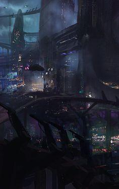Prey 2 Cityscape by James Paick Cyberpunk Aesthetic, Cyberpunk City, Arte Cyberpunk, Futuristic City, Futuristic Architecture, Paradis Sombre, Post Apocalyptic City, Science Fiction, Sci Fi City