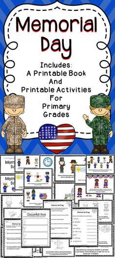 Memorial Day - A printable book with reading comprehension activities to celebrate Memorial Day -