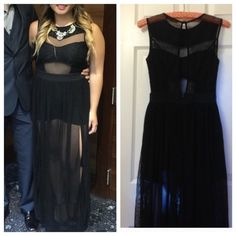 STUNNING long black dress Wore this to a wedding but it can be versatile and be used for many occasions. It's a very unique dress that will get you a lot of compliments. Size small but it can fit up to a small framed medium. Dresses Backless