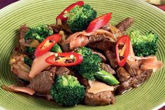 Beef stir fry with oyster sauce, broccoli and pickled ginger