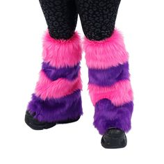 PAWSTAR CHESHIRE Cat Striped Furry Leg Warmers Fluffies by pawstar