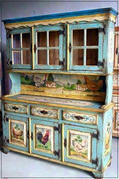 58 Beautiful French Country Style Kitchen Decor Ideas - Page 25 of 60 Decoupage Furniture, Hand Painted Furniture, Funky Furniture, Paint Furniture, Shabby Chic Furniture, Rustic Furniture, Furniture Makeover, Farmhouse Furniture, Decoupage Drawers