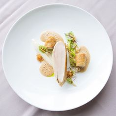 Chicken Breast Chicken Wing Celeriac Puree Celeriac Crumble Pearl Onion Shimeji Mushrooms Braised Lettuce Almond Milk