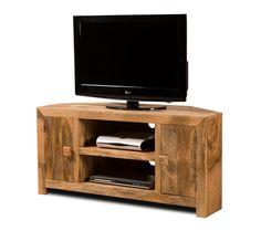 Dakota Light Mango Large Corner TV Unit  | Casa Bella Furniture UK small matching CD shevles and coffee table available