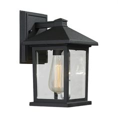 Filament Design Malone Black Modern Outdoor Wall Lantern Sconce with Clear Beveled Glass Shade - The Home Depot Black Outdoor Wall Lights, Outdoor Wall Lantern, Outdoor Wall Sconce, Outdoor Wall Lighting, Outdoor Walls, Wall Sconce Lighting, Home Lighting, Wall Sconces, Lighting Ideas