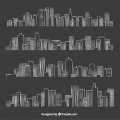 City skyline in blackboard style Free Vector Blackboard Drawing, Chalkboard Wall Art, Chalk Wall, Chalkboard Lettering, Skyline Painting, Skyline Art, Doodle Characters, Blue Sky Background, Wall Drawing