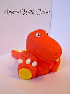 3D Fondant Dinosaur Cake Topper by AmazeWithCakes on Etsy