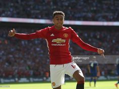 Jesse Lingard of Manchester United celebrates scoring their first goal during the FA Community Shield match against Leicester City.
