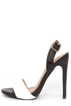 Black&White C Label Olive 16 Black and White Slingback Heels at LuLus.com! $50 LOVE IT!
