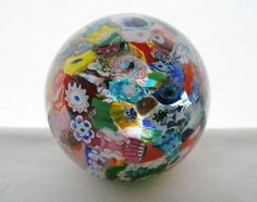 EXCEPTIONALLY Brilliant MILLEFIORI and MURRINES Genuine MURANO Glass PAPERWEIGHT