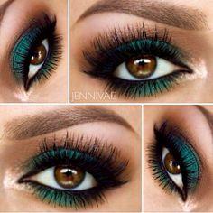Deep green eyeshadow , eyeliner.