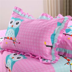 Pink Owl Bedding Sets, 4 pc Queen Size Owl 100% Polyester Fibre