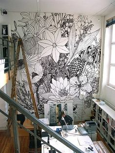 apartment, decor, flower illustration, flower wallpaper, mural, wallpaper