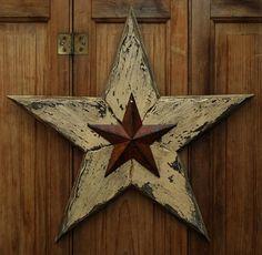 PRIMITIVE DISTRESSED WOOD 15 INCH RUSTY TIN BARN STAR HANGING GREETER FOLK ART #NaivePrimitive