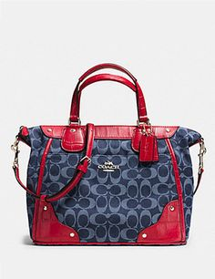 Coach Mickie Satchel in Croc Embossed Denim Jacquard