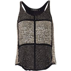 ISABEL MARANT Peachy embellished silk top (8.040 BRL) ❤ liked on Polyvore featuring tops, shirts, blusas, tank tops, tanks, black, black tank, silk shirt, black silk tank top and black sequin top