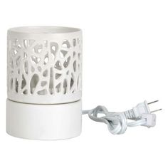 Home Scents Electric Wax Melt Warmer - White Pierced Design (includes 6pk Waterfall Scent Wax Melts)
