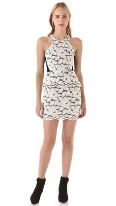 Mason by Michelle Mason Peplum Lace Mini Dress