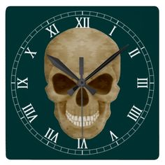 Camouflage Skull Roman Numeral Clock  Halloween decoration for the home.  http://www.zazzle.com/camouflage_skull_roman_numeral_clock-256404811445112565?rf=238271513374472230  #halloween  #halloweendecoration
