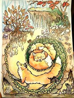Очень плодотворная неделя рисунка) рисунки365, арт, игуана, кот, костер, колибри, Рыба, лиса, длиннопост
