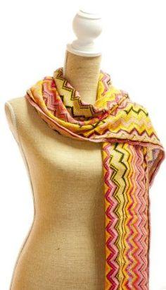 Teramasu Pink and Orange ZigZag Knit Scarf Teramasu. $34.95