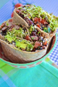 veggie citrus black bean quinoa wraps  (sprouts avocado cherry tomato goat cheese lemon black beans orange quinoa)