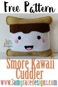 Smore Kawaii Cuddler -by 3amgracedesigns, #crochet, free pattern, amigurumi, pillow, stuffed toy, #haken, gratis patroon (Engels), mashmallow, knuffel, kussen, #haakpatroon