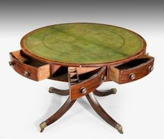 "A Regency period mahogany Drum or Library table Ca1810 England. 29""H x 42""Diam. Open."