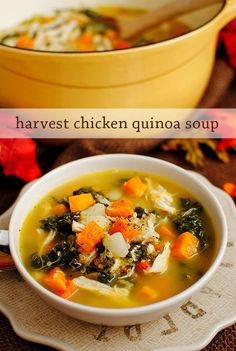Harvest Chicken Quinoa Soup is packed with good for you protein and veggies. A warming and hearty fall and winter soup. | iowagirleats.com