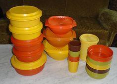 27pc Retro Vintage Tupperware Harvest Servalier Storage Plate