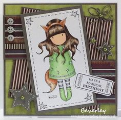 Bev's Little Craft Room: Gorjuss The Fox Sweet Stampin' Challenge Doodles Card Homemade Birthday Cards, Homemade Cards, Scrapbooking, Scrapbook Cards, Baby Cards, Kids Cards, Card Making Inspiration, Making Ideas, Fancy Fold Cards