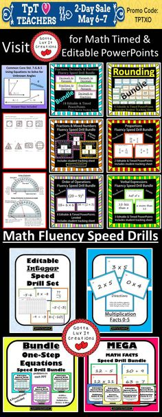 Last day! Teachers Appreciation Sale May 6-7.  Visit my store for math speed drills.