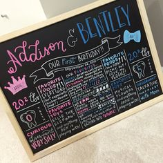 Hand-Painted Twins First Birthday Milestone by Calligraphesque