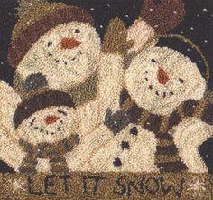 TK 085 Let it Snow $14.95 snowman Christmas primitive punch needle pattern