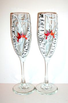 Cardinals and Birch Trees Set of Two Champagne Flutes Wedding Anniversary Flutes Birch Trees Red Love Birds Heart & Initials Hand Painted by SharonsCustomArtwork on Etsy
