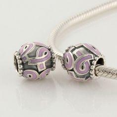 Sterling Silver Flower Purple Ribbon Enamel Pandora Charms