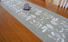 Linen Table Runner Hand Screen Printed White&Natural Australian Banksia Floral Print