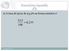 Conceito e exercícios de matemática financeira