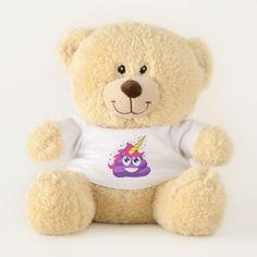 Purple Poop Unicorn Emoji Teddy Bear - girl gifts special unique diy gift idea