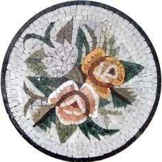 "16"" Marble Mosaic Pattern Art Tile Accent Insert"