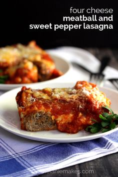 Lasagna noodles, four types of cheese - seven cups total!, sweet peppers, meatballs and marinara sauce are layered and then baked together to create the cheesiest, most satisfying lasagna. This Four Cheese Meatball and Sweet Pepper Lasagna is the perfect dish to feed a crowd.